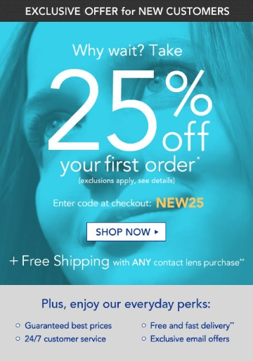 Vision Direct 25 percent off first order