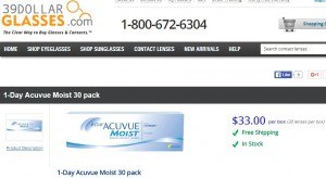 Price of 1 day Acuvue Moist 30 Pack at 39dollarglasses.com