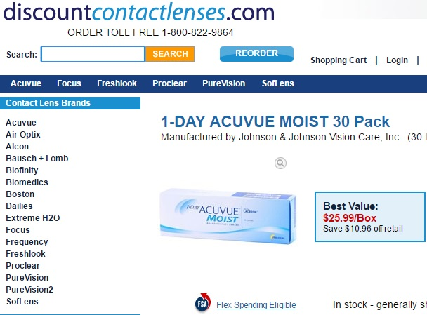 Price of 1 day Acuvue Moist 30 Pack at discountcontactlenses
