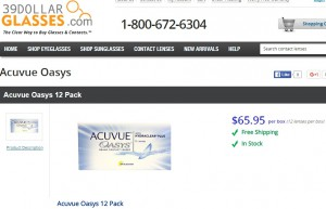 Price of Acuvue Oasys 12 Pack at 39dollarglasses.com