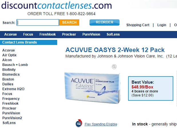 Price of Acuvue Oasys 12 Pack at discountcontactlenses.com