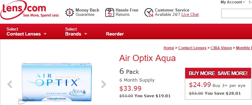 Price of Air Optix Aqua at Lens