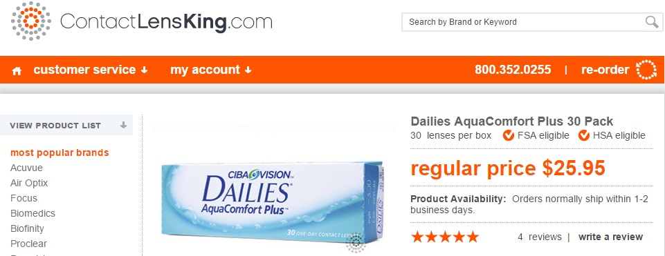 Price of Dailies AquaComfort Plus 30 pack at ContactLensKing.com