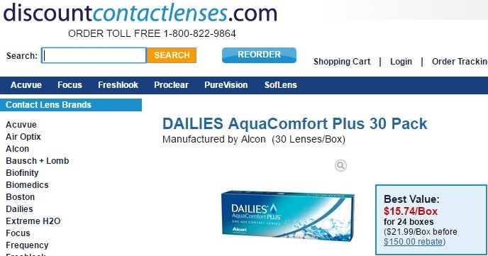 Price of Dailies AquaComfort Plus 30 pack at DiscountContactLenses.com