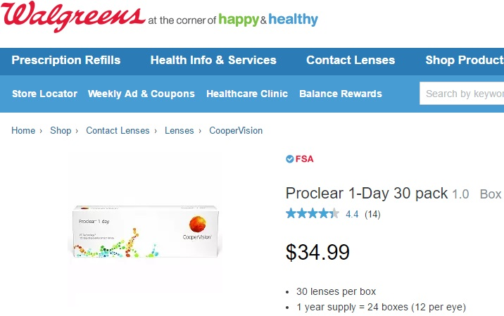 Price of Proclear 1 day 30 Pack at Walgreens