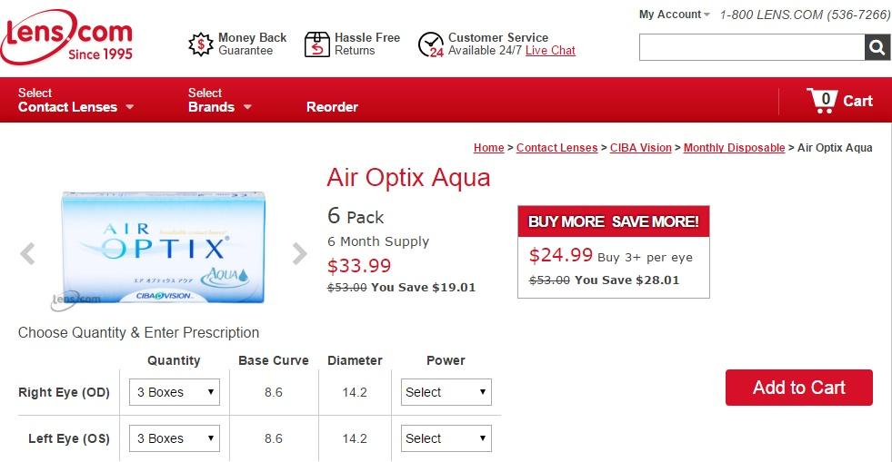 Cheap Monthly Contact Lenses - Air Optix Aqua at Lens