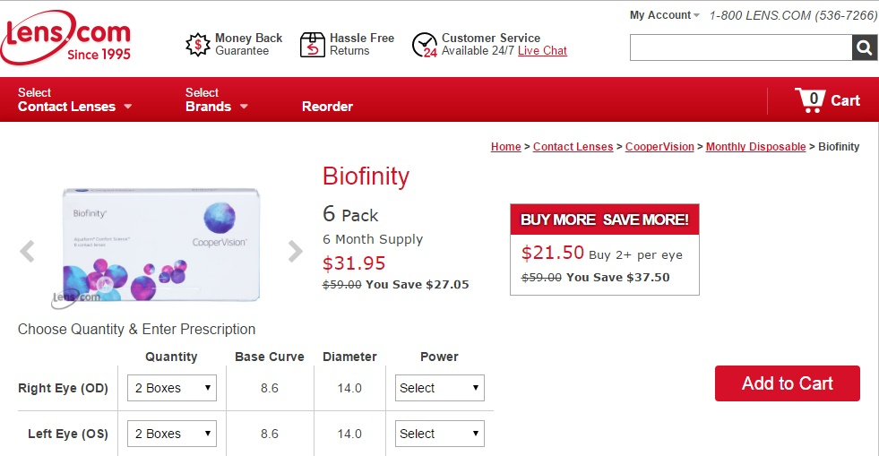 Cheap Monthly Contact Lenses - Biofinity at Lens