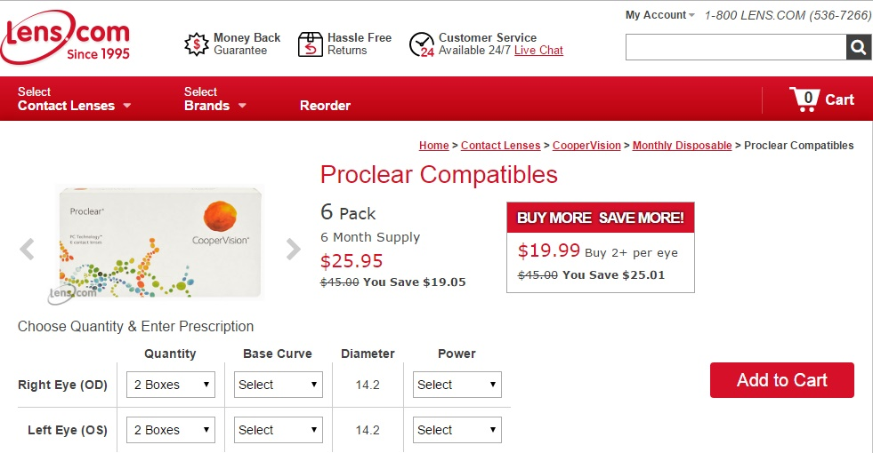 Cheap Monthly Contact Lenses - Proclear Compatilbles at Lens