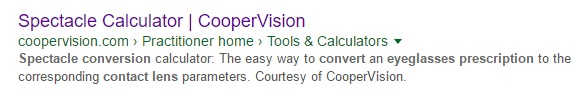 Spectacle Calculator by CooperVision - Google Listing