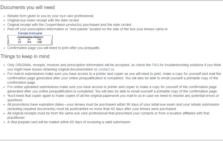 Are Rebates For Contact Lenses A Scam - CooperVision instructions