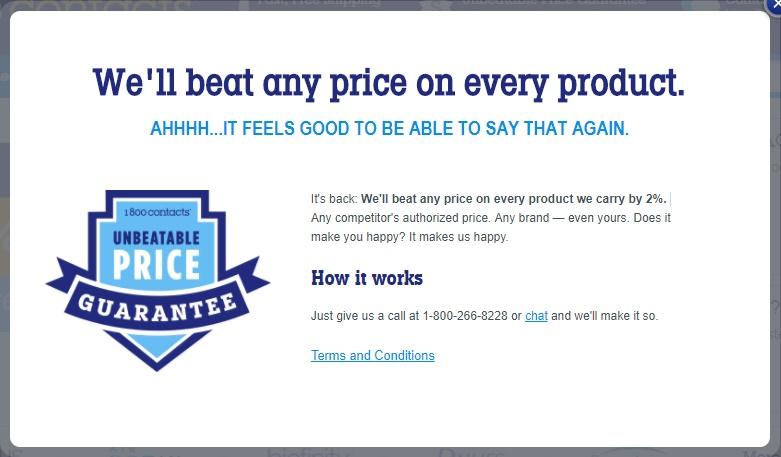1800contacts promo code - unbeatable price guarantee