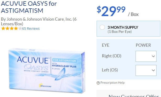 Acuvue Oasys for Astigmatism at ACLens