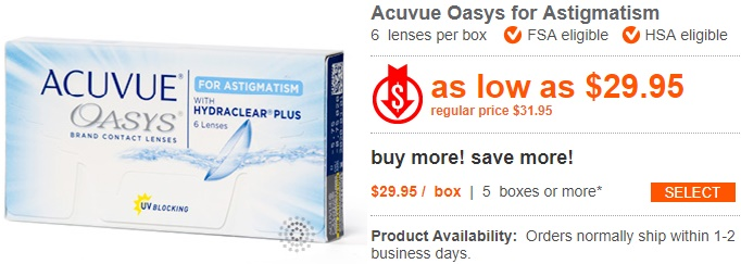 Acuvue Oasys for Astigmatism at ContactLensKing