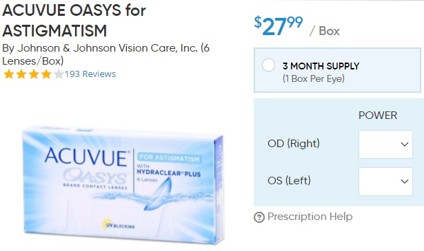 Acuvue Oasys for Astigmatism at DiscountContactLenses