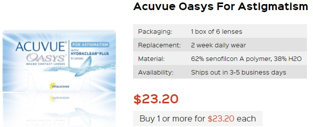 Acuvue Oasys for Astigmatism at PriceSmartContacts