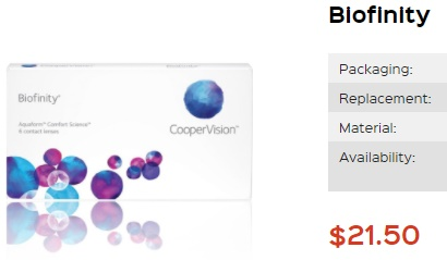 Biofinity at PriceSmartContacts