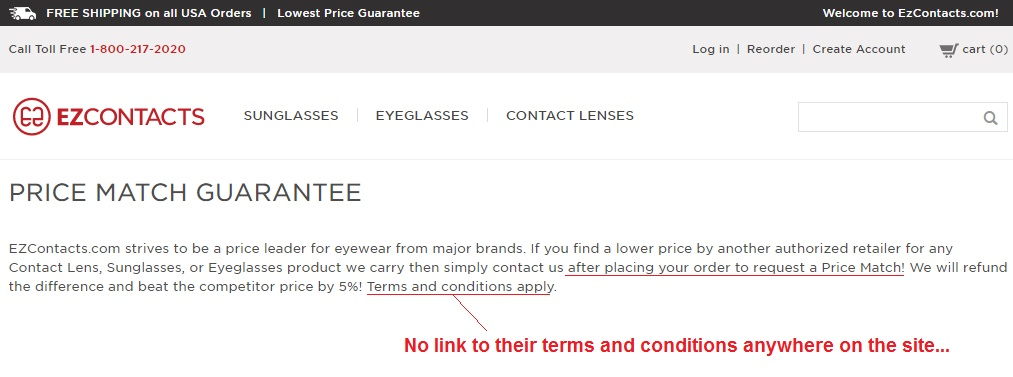 contact lens price match guarantee