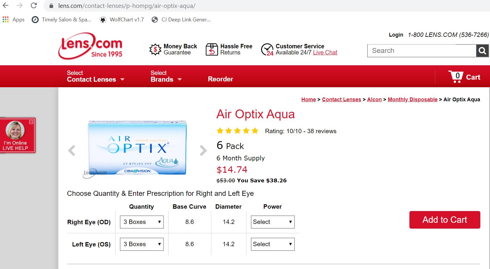 Screenshot of the price of a 6-pack of Air Optix Aqua at Lens.com