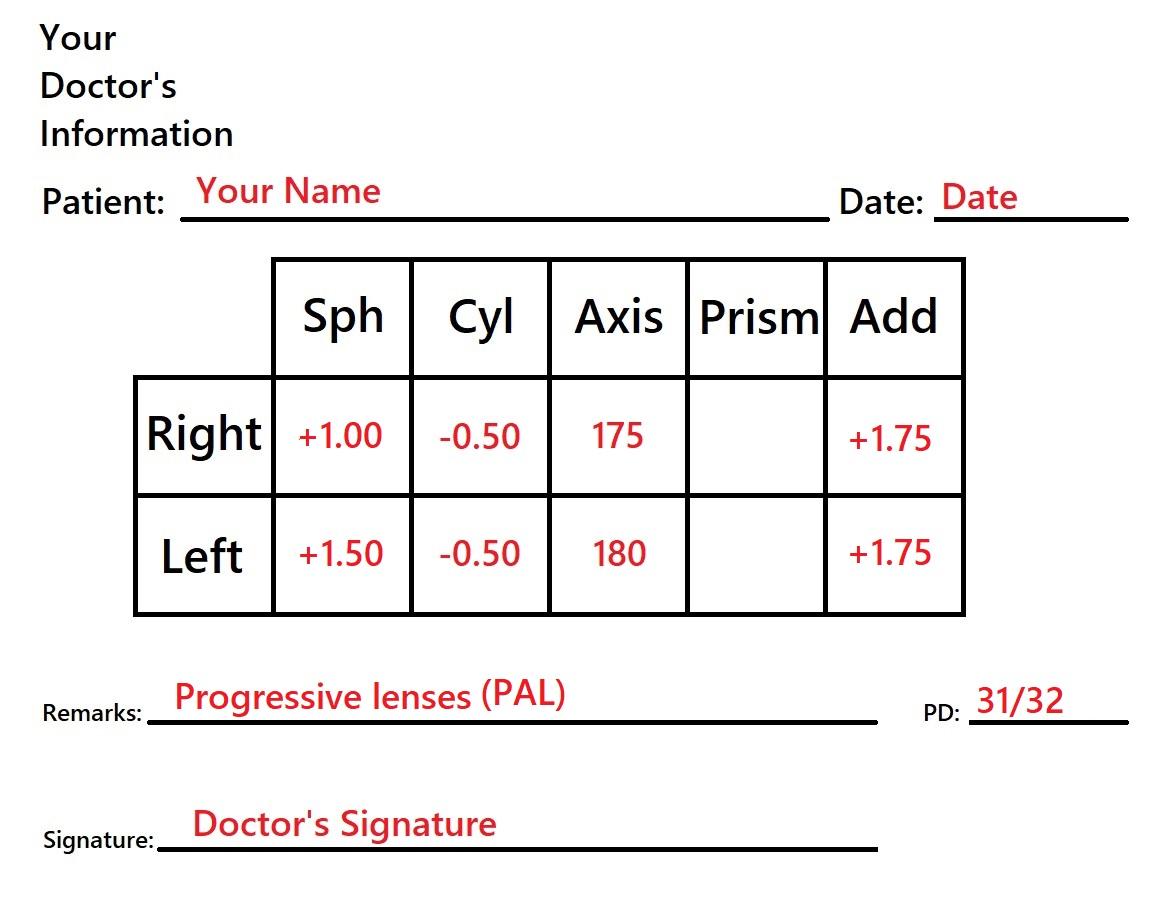 Sample for prescription for progressive glasses