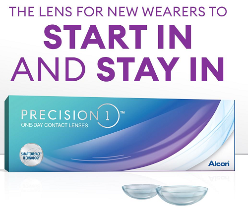 PRECISION 1 ONE-DAY CONTACT LENSES start in and stay in