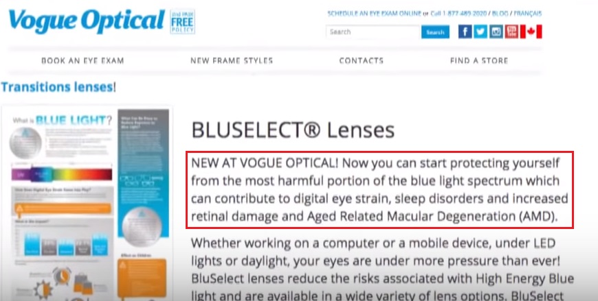 Vogue Optical BluSelect Lenses quip