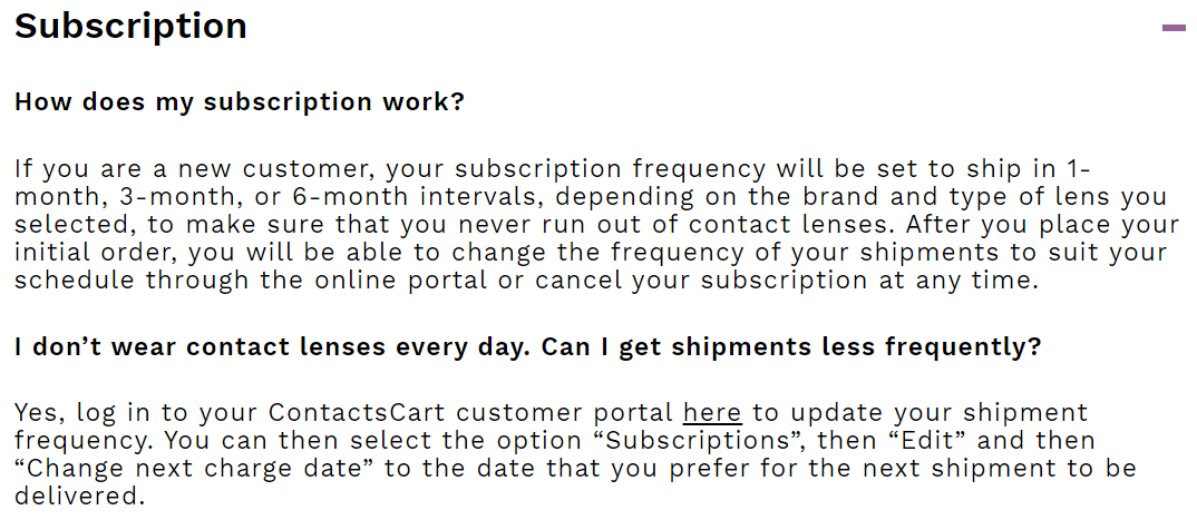 ContactsCart Subscription excerpt