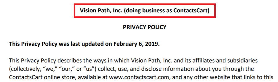 ContactsCart is Vision Path, Inc.