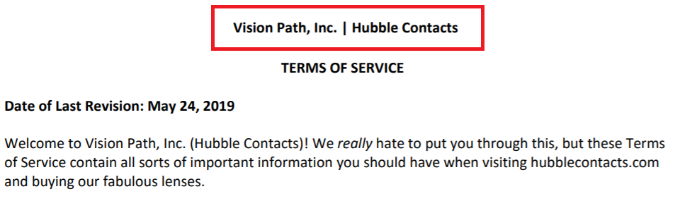 Hubble Contacts is Vision Path, Inc.